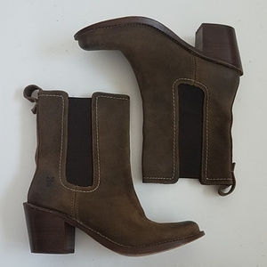 Frye Brown Suede Chelsea Heeled Boot